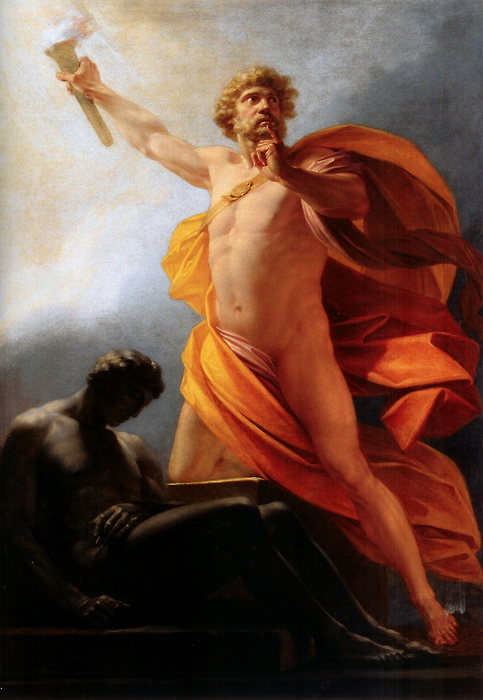 Heinrich Friedrich Füger – 1817 [ Source : https://upload.wikimedia.org/wikipedia/commons/5/5b/Heinrich_fueger_1817_prometheus_brings_fire_to_mankind.jpg ]